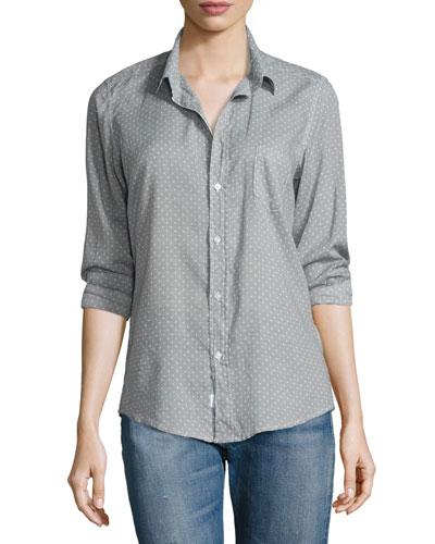 Barry Long-Sleeve Polka-Dot Shirt, Gray Dots
