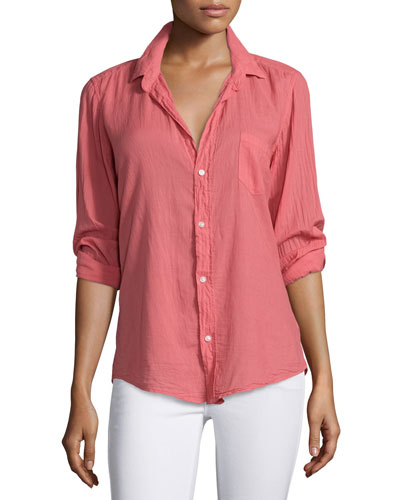 Barry Long-Sleeve Voile Shirt, Red