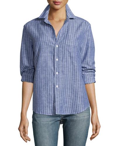 Eileen Button-Front Shirt, Blue Stripe
