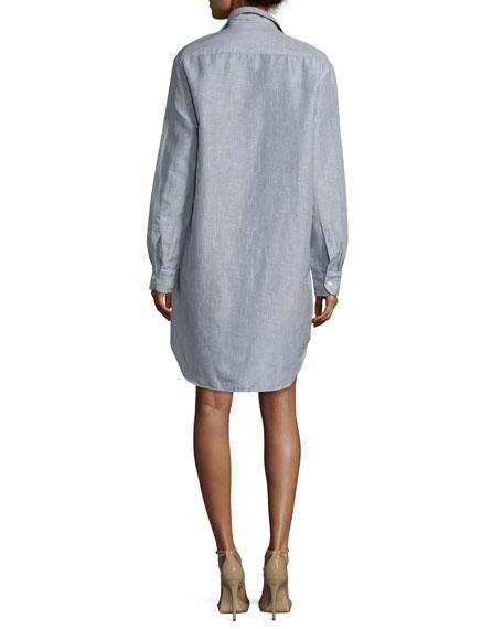 Mary Long-Sleeve Shirtdress, Gray
