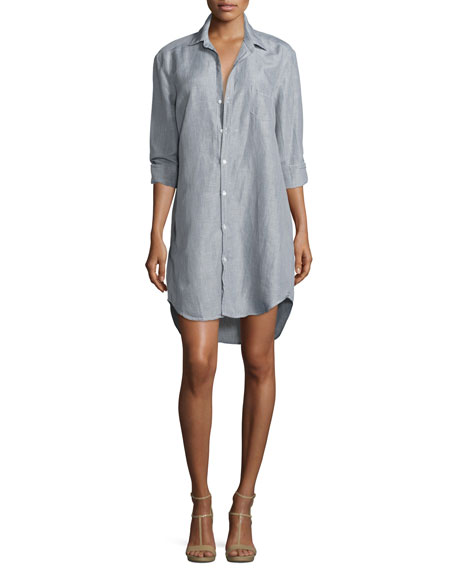 Frank & Eileen Mary Long-Sleeve Shirtdress, Gray