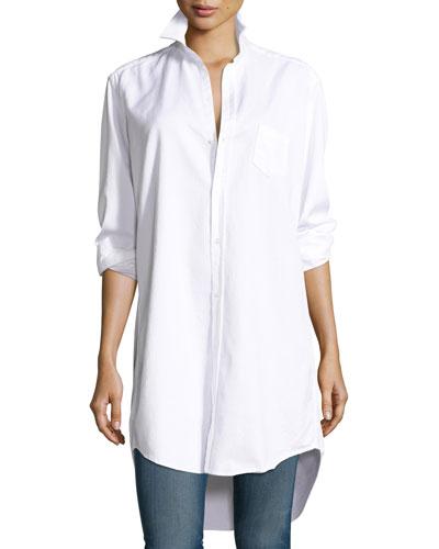 Mary Denim Tunic-Shirtdress, White