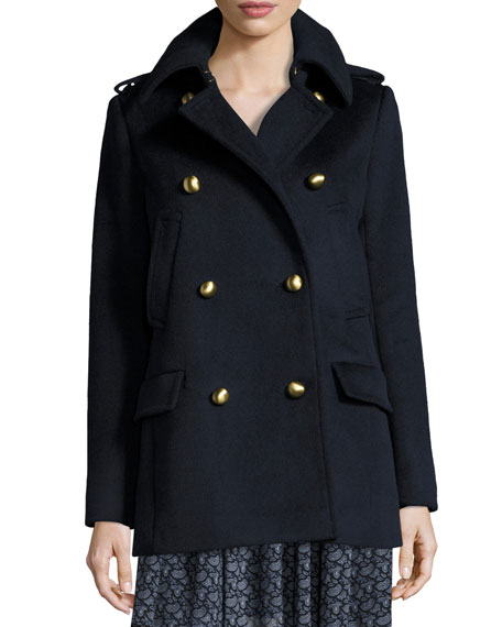 MICHAEL Michael Kors Double-Breasted Wool-Blend Military Pea Coat ...