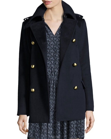 MICHAEL Michael Kors Double-Breasted Wool-Blend Military Pea Coat
