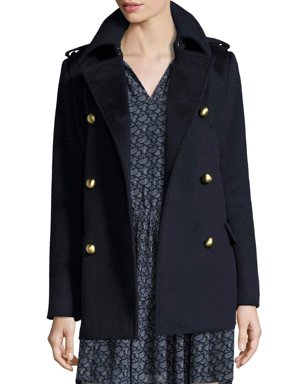 ebf7acbfd84 MICHAEL Michael Kors Double-Breasted Wool-Blend Military Pea Coat, New Navy
