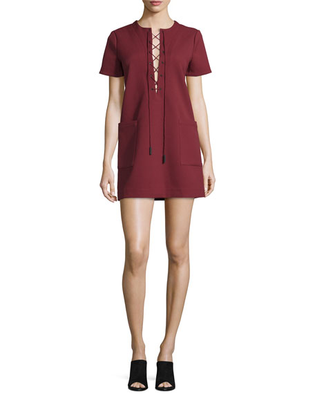 Safari Lace-Up Short-Sleeve Dress