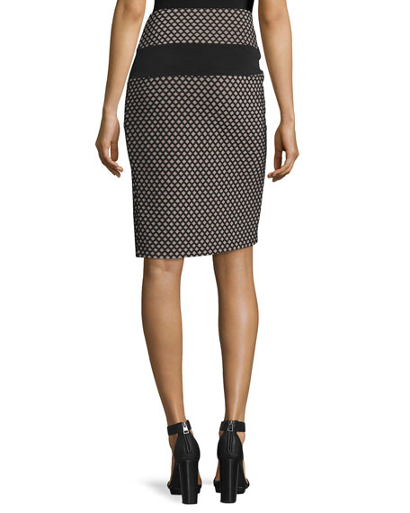 Sporty Diamond-Pattern Mesh-inset Pencil Skirt