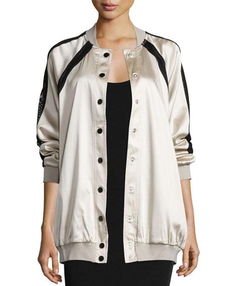 Kendall + Kylie Oversized Mesh-Inset Bomber Jacket