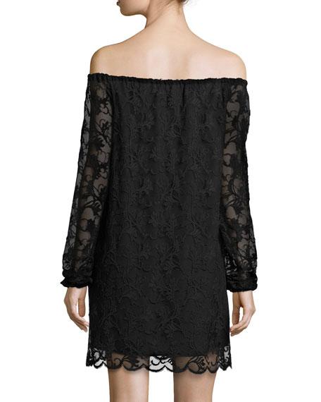 Dentelle Lace Off-the-Shoulder Shift Dress, Black