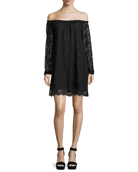 Nightcap Clothing Dentelle Lace Off-the-Shoulder Shift Dress,