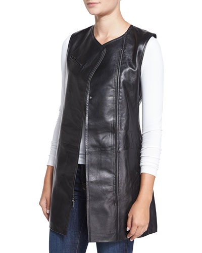 Long Asymmetric Zip-Front Leather Vest, Black