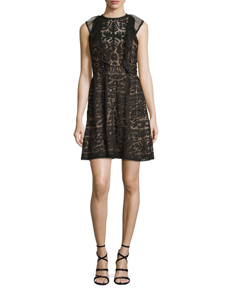 Roswell Geometric Lace Sleeveless Dress