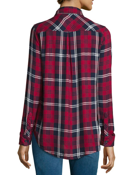 Hunter Plaid Long-Sleeve Shirt, Cherry/Navy/White