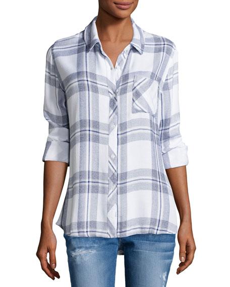 Rails Hunter Plaid Long-Sleeve Shirt, White/Indigo Melange
