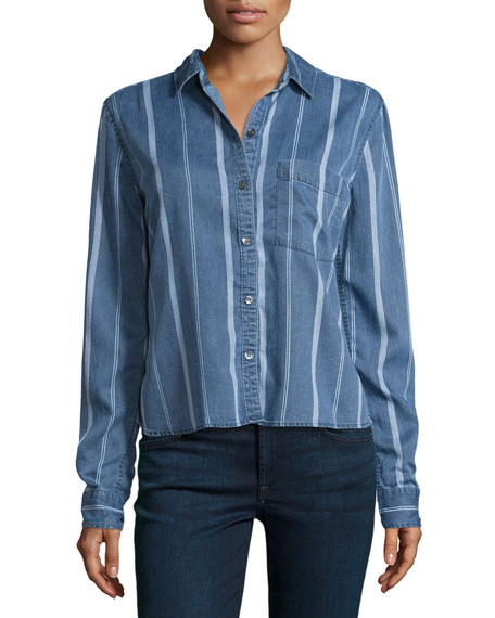Dana Variegated-Stripe Denim Shirt