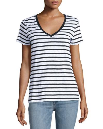 Striped Shrunken V-Neck Tee, White/Black