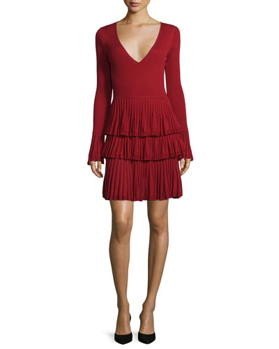 Sharlynn Long-Sleeve Tiered Dress, Rubiate