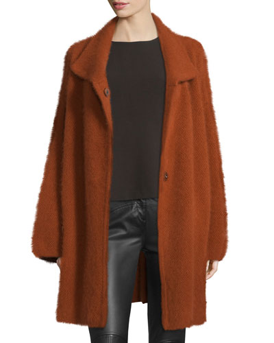 Avril Angora-Blend Oversized Cardigan Coat, Carnelian