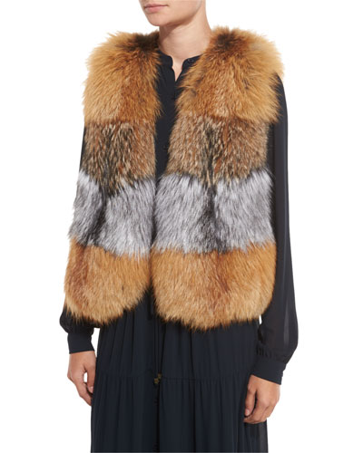 Oversized Layered Fox Fur Vest, Natural