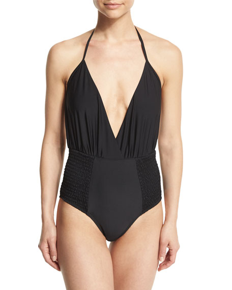 6 Shore Road by Pooja Coast Shirred-Sides Halter One-Piece Swimsuit