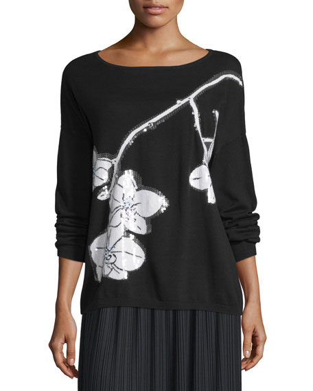 Joan Vass Sequined Orchid Intarsia Sweater, Black/White
