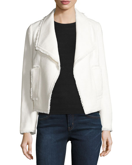 MICHAEL Michael Kors Cropped Open-Front Tweed Jacket, Cream