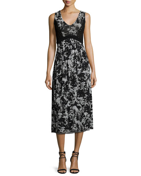 Fuzzi Sleeveless Floral-Print Midi Dress