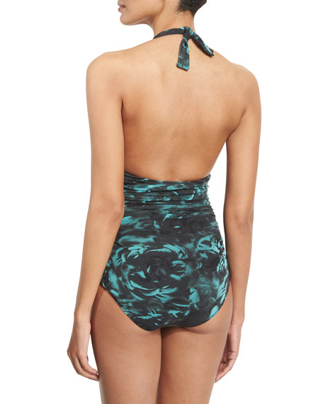 Rose-Print Ruched Halter One-Piece Swimsuit