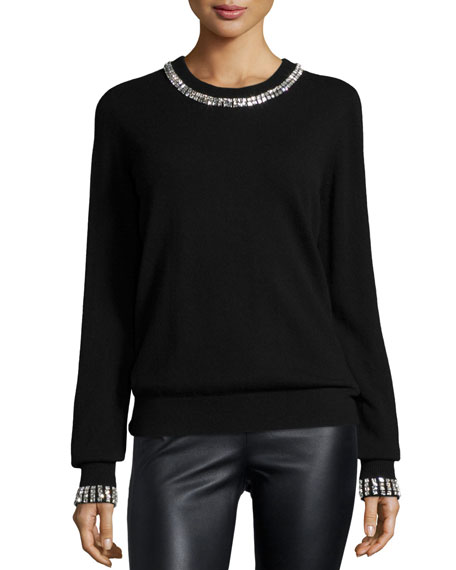 Michael Kors Collection Embellished Cashmere Sweater, Black