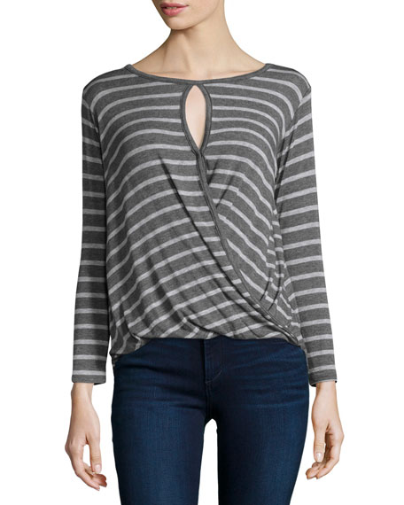 Amaryliss Striped Blouson Top, Charcoal/Heath