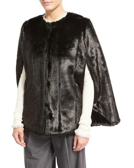 MICHAEL Michael Kors Reversible Quilted/Faux Fur Cape, Black