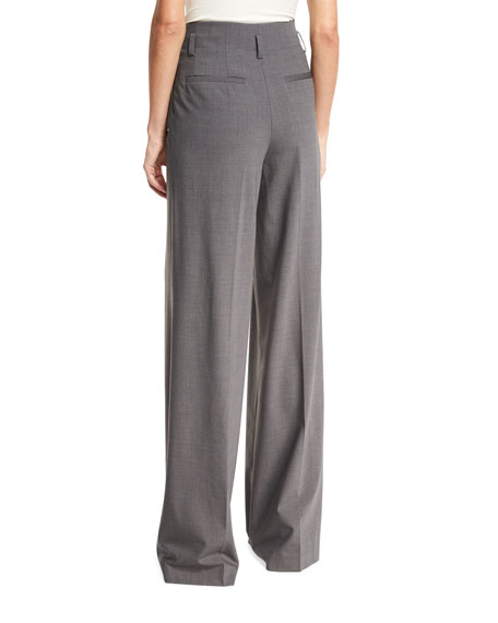 High-Rise Wide-Leg Pleated Wool-Blend Pants, Derby