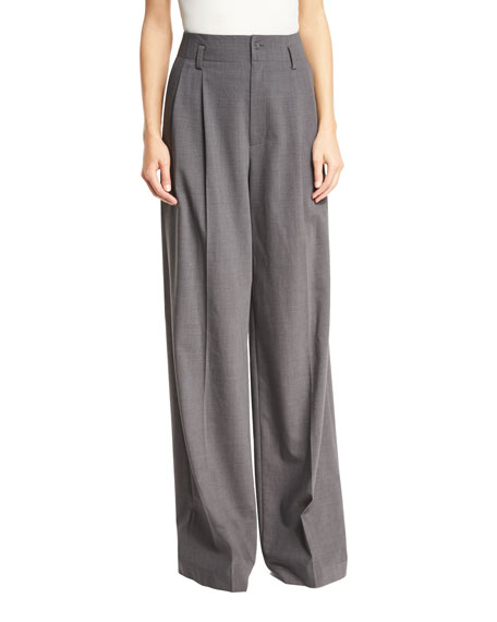 MICHAEL Michael Kors High-Rise Wide-Leg Pleated Wool-Blend Pants,