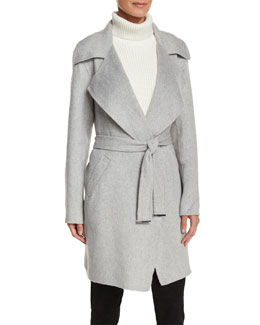 Belted Cocoon Coat, Pearl Heather