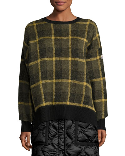 Plaid Wool-Blend Pullover Sweater, Green