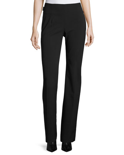 Wool-Blend Straight-Leg Pants, Black