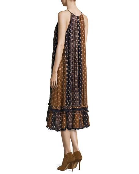 Mattea Polka-Dot Flocked Chiffon Midi Dress
