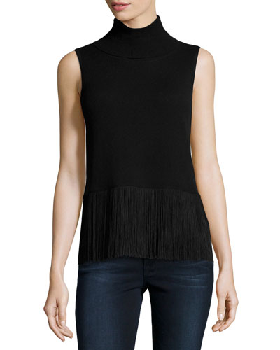 Fringe-Trimmed Sleeveless Cashmere Turtleneck, Black