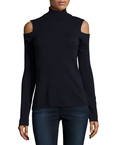 Cold-Shoulder Cashmere Turtleneck, Midnight