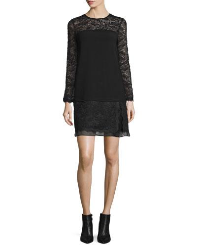 Lavana Long-Sleeve Lace Shift Dress, Black