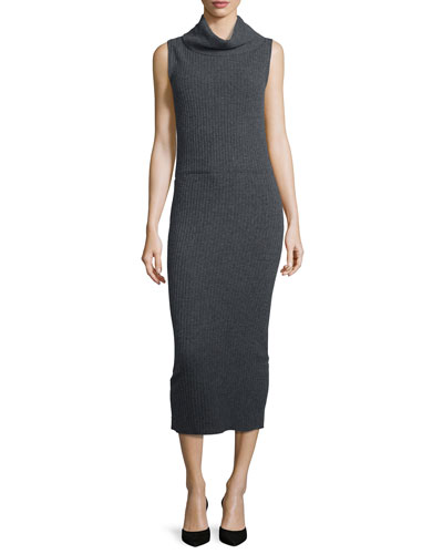Arra Sleeveless Ribbed Turtleneck Midi Dress, Charcoal