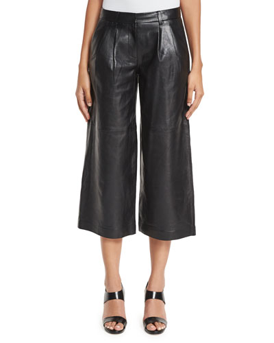 Pleated Leather Culottes, Black