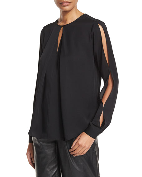 Cold-Shoulder Jewel-Neck Silk Blouse, Black