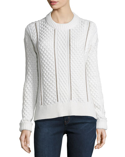 Cable-Knit Chain-Trim Sweater, Cream