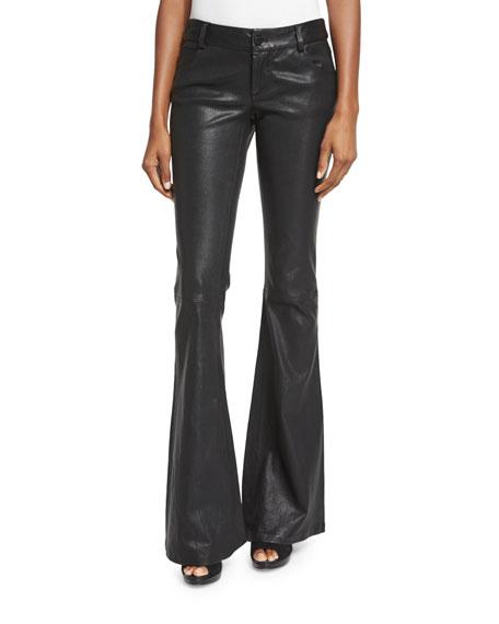 Alice Olivia Leather Flare Pants Black Neiman Marcus