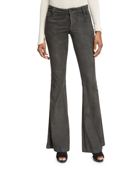 Alice + Olivia Suede Flare Pants, Charcoal