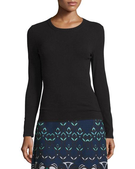 M Missoni Long-Sleeve Crewneck Wool-Blend Pullover, Black