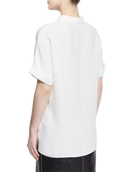 Josie Short-Sleeve Silk Blouse, Plus Size