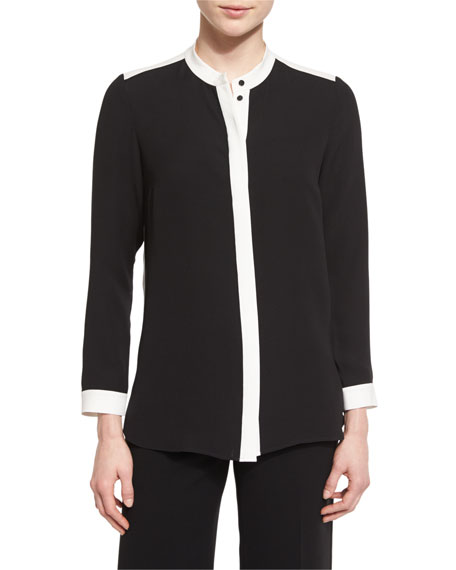Lafayette 148 New York Teagan Colorblock Silk Blouse,