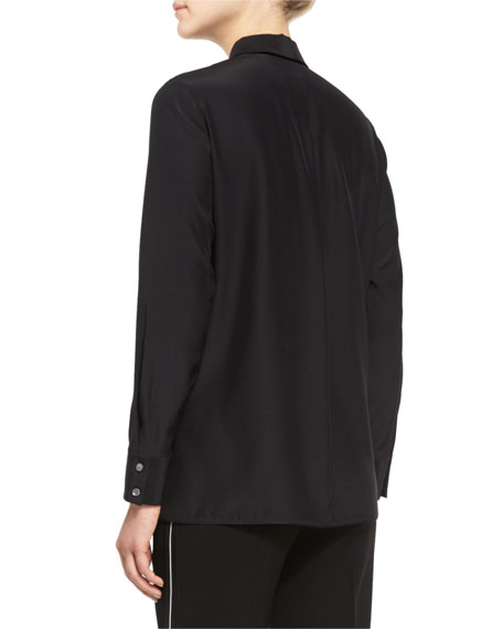 Shay Long-Sleeve Silk Keyhole Blouse, Plus Size